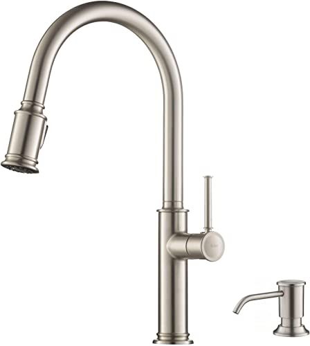Kraus KPF-1680SFS-KSD-80SFS Sellette Single Handle Pull-Down Kitchen Faucet with Deck Plate and Soap Dispenser, Traditional Spot Free Stainless Steel