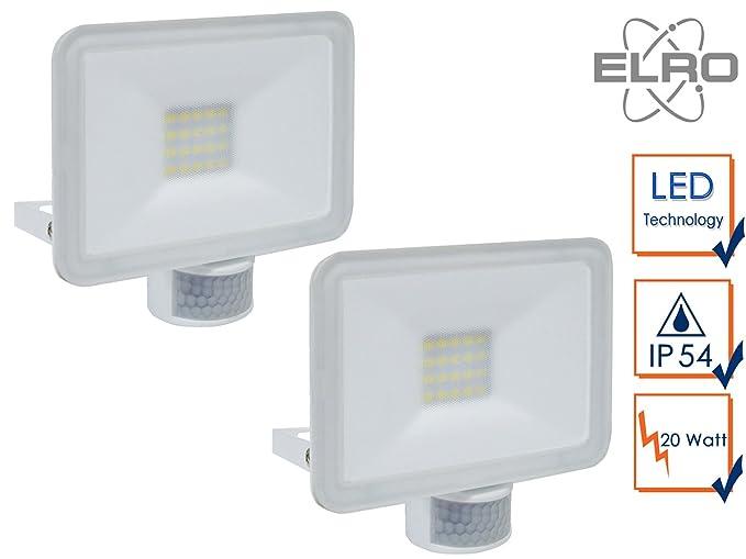 Juego de 2 LED/Foco con detector de movimiento, 20 W, 110 ° x 6 m, Fachada iluminación: Amazon.es: Iluminación