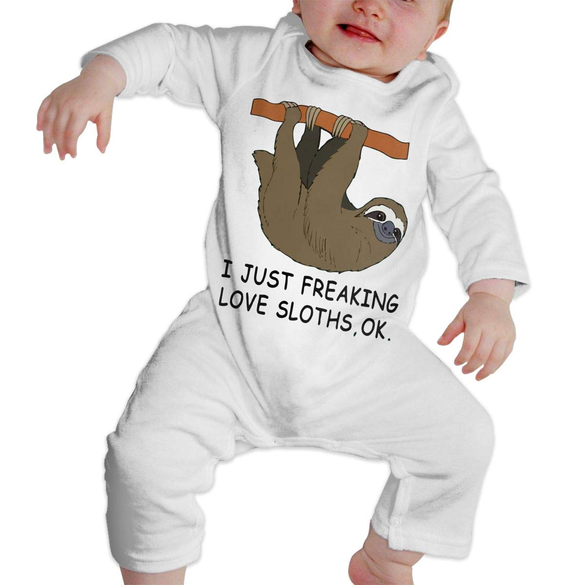 Infant Baby Boys Girls Cotton Long Sleeve I Just Freaking Love Sloths Ok-3 Baby Clothes One-Piece Romper Clothes