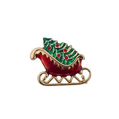Image Unavailable. Image not available for. Color  Lux Accessories Holiday Christmas  Tree Sleigh Riding Santa Sled Xmas Brooch Pin 3ad116d570cd