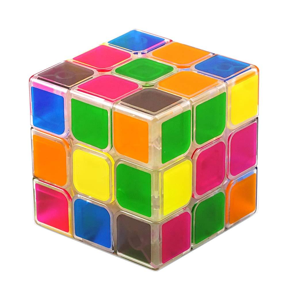JIAAE 3X3 Rubik's Cube Children Puzzle Rubik Toy,Transparent,6 cm