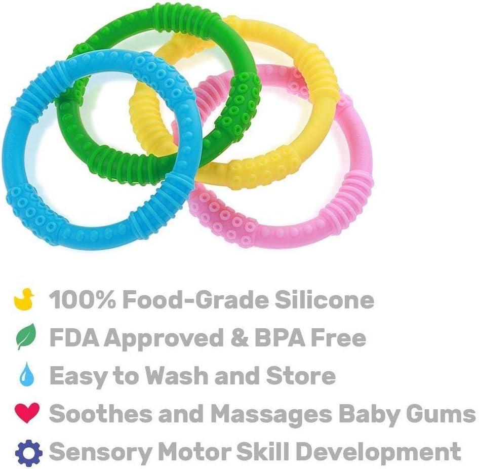 Soulagement de la douleur apaisant et jouets pour b/éb/és Colorful Fun Anneaux de dentition 4 jouets danneau de dentition pour b/éb/é Sensory Silicone