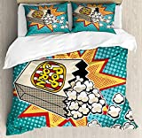 Movie Theater Twin Duvet Cover Sets 4 Piece Bedding Set Bedspread with 2 Pillow Sham, Flat Sheet for Adult/Kids/Teens, Halftone Background with Retro Style Colorful Popcorn Design Cinema Snacks
