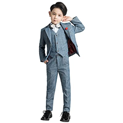 Yuanlu Boy's Tuxedo Slim Fit Tollder Dress Suits Outfit For Weddings