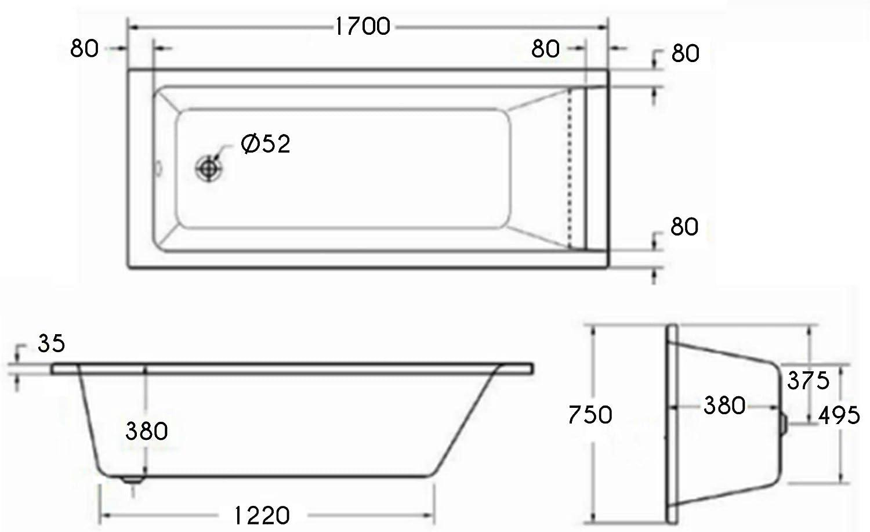 1400 x 700mm Designer Single Ended Bathtub Acrylic Square Bathroom Straight Bath Tub Cesar