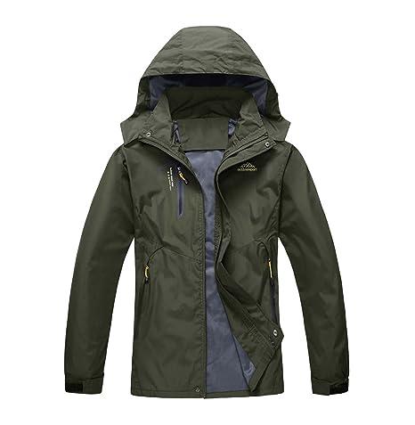 33c707252 LASIUMIAT Mens Winter Waterproof Raincoat Outdoor Camping Jacket Hiking  Mountaineer Travel Jackets Army Green