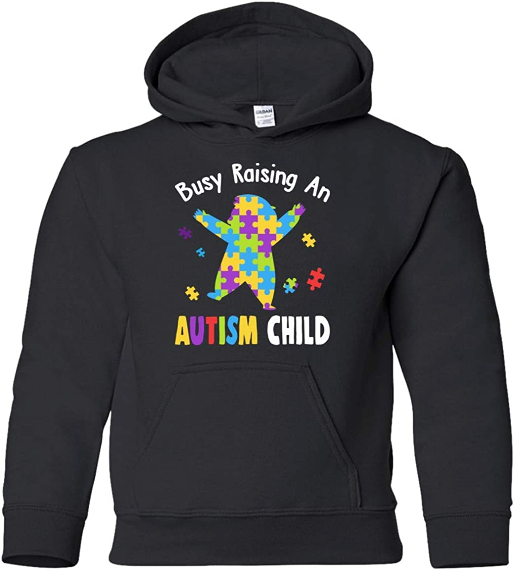 Teely Shop Little Boys Busy Rasing an Autism Child G185B Gildan Youth Pullover Hoodie