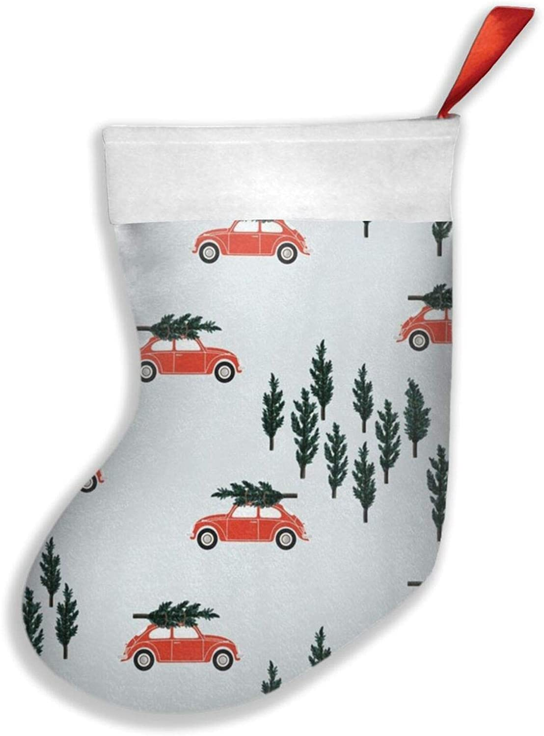 liappo Silver BG Red VW Beetle Christmas Tree On Car Truck Theme Christmas Stocking Fireplace Tree Sock Gift Decorations for Xmas Party for Family Holiday Season Party