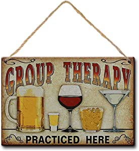 LPLED Group Therapy Practiced Here Wood Sign 8x12s Alcohol Beer Wine Bar Wall Decor (Y3076)