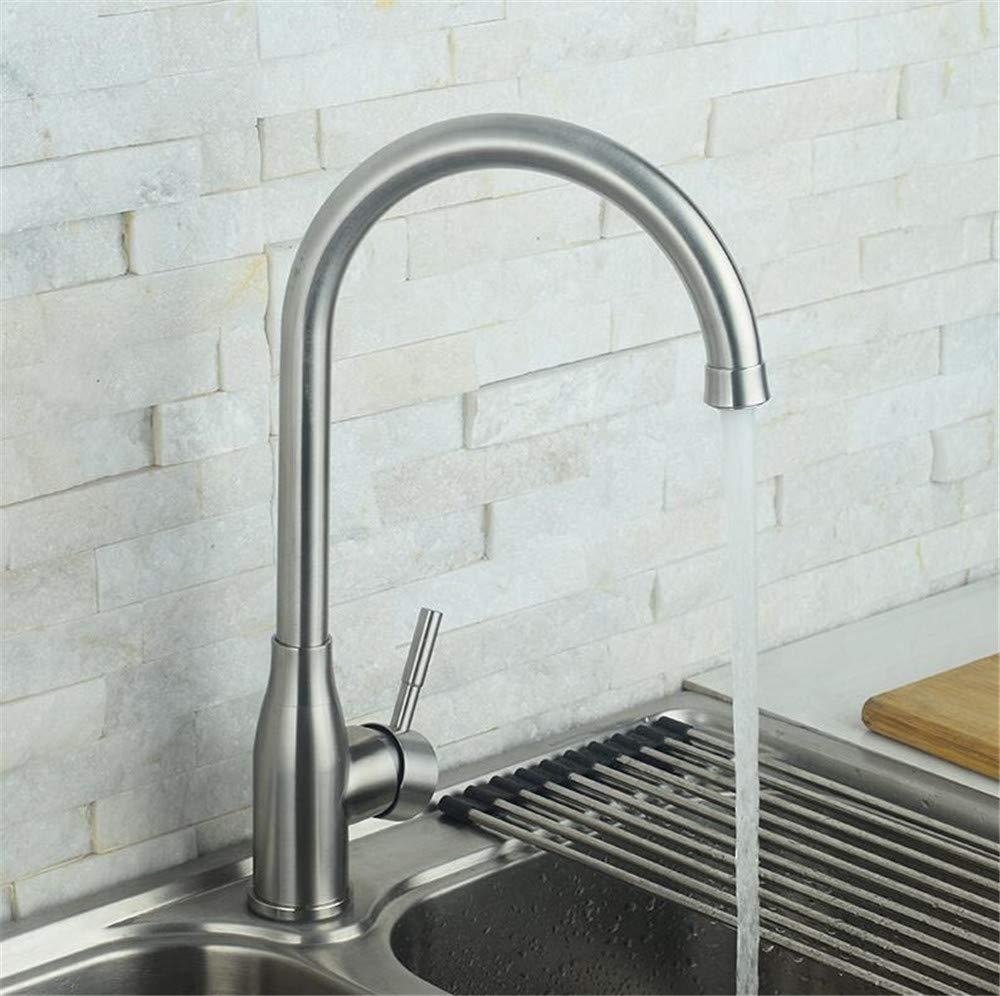 Decorry Edelstahl-Küchenarmatur 304 Edelstahl-Küchenarmatur Mit Warmen Und Kalten gemäße Becken Edelstahl Dreh