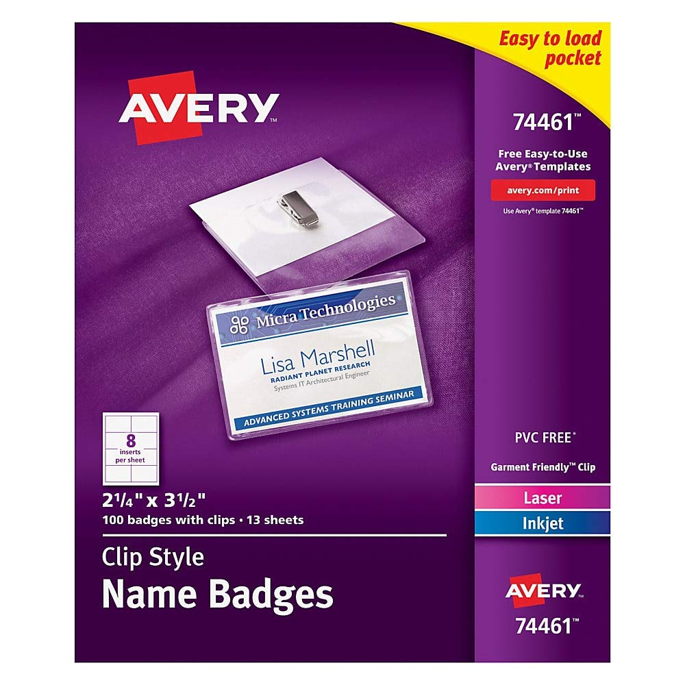 Avery Clip Name Badges, Print or Write, 2-1/4'' x 3-1/2'', 100 Inserts & Badge Holders with Clips (74461) by AVERY