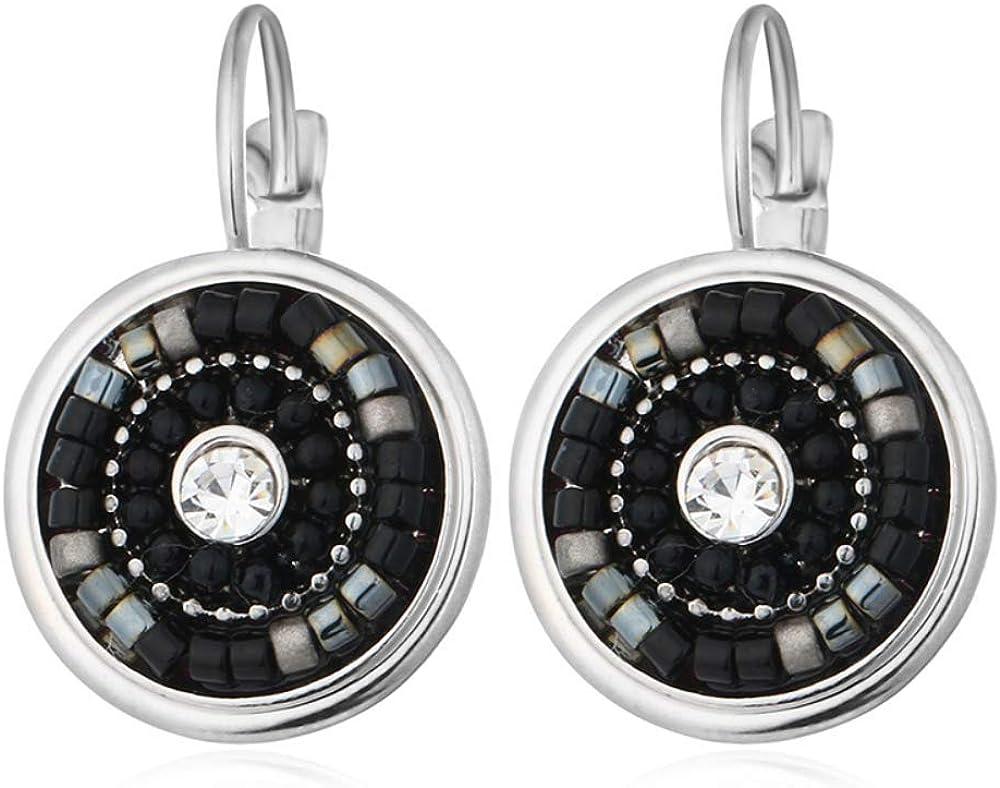 Pendientes de gota de perlas multicolores bohemios Pendientes Botón Pendientes de cristal Joyas