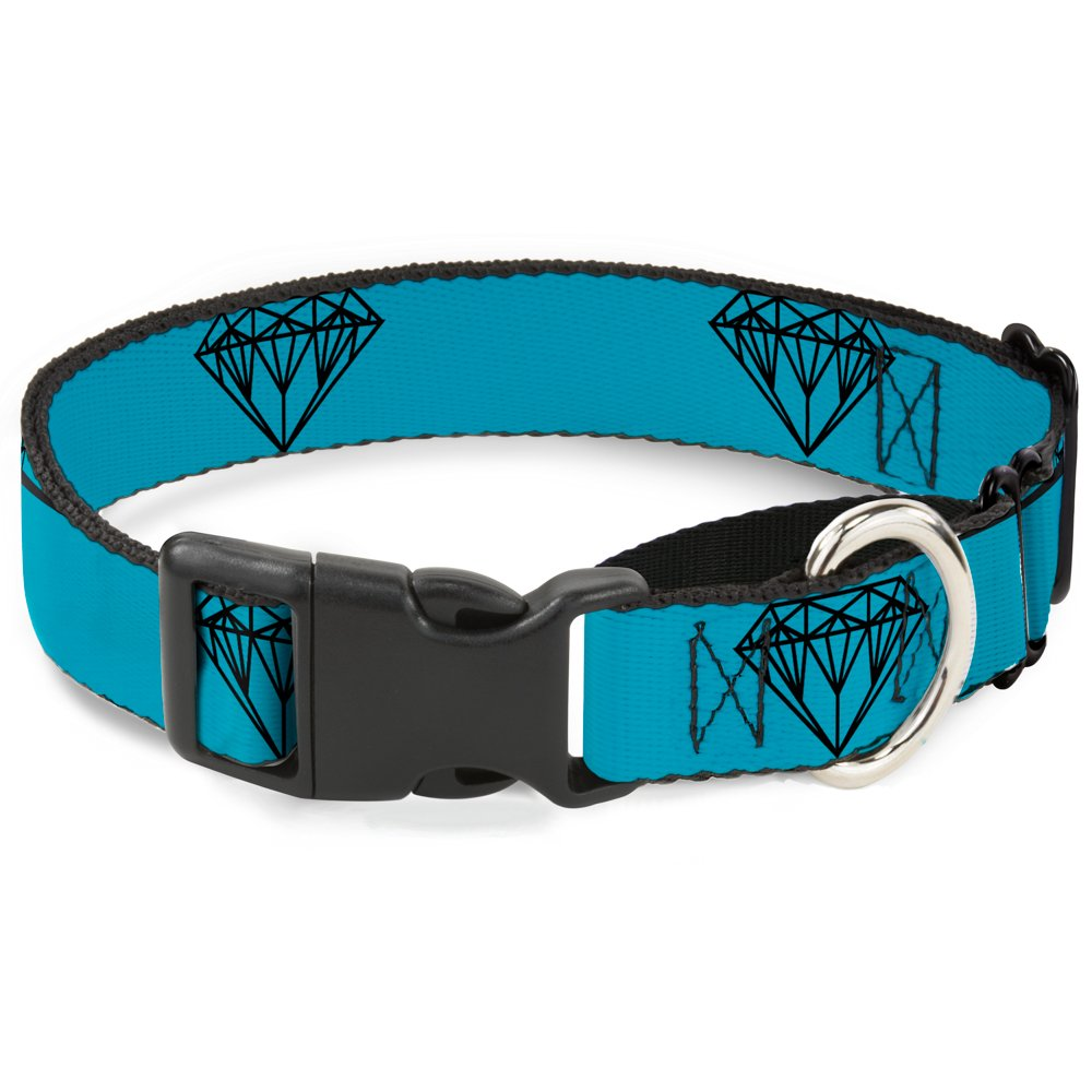 Buckle-Down Diamond Sketch Turquoise Black Martingale Dog Collar, 1  Wide-Fits 15-26  Neck-Large