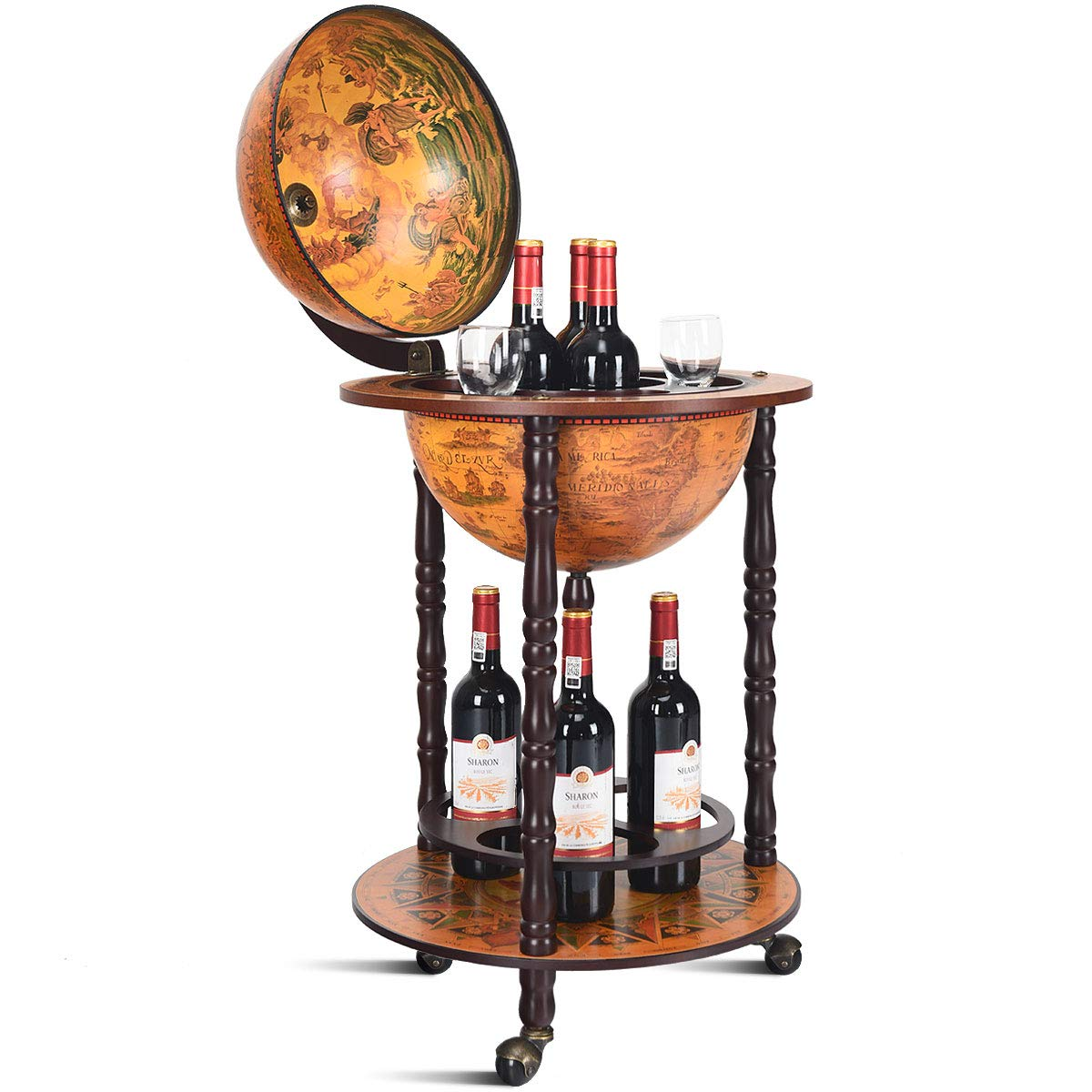 Groovy Costway Globe Drink Cabinet Bar Wine Beverage Stand Bottle Italian 360Mm Wood Wood Plastic 360Mm Home Interior And Landscaping Eliaenasavecom