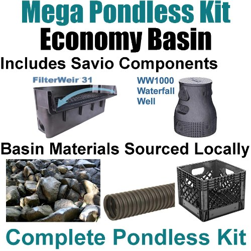 "15 x 45 Mega Pondless Waterfall Kit With Anjon 10,000 GPH Hybrid Mag Drive Pump, Savio 31"" Waterfall & Savio Waterfall Well PMS2"