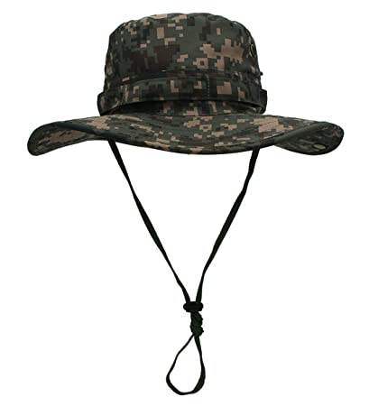 d287f39b61d OUTFLY Adult Fishing Caps Camouflage Windproof Hats Fisher Wide Brim Cap Bucket  Hat with Adjustable Strap