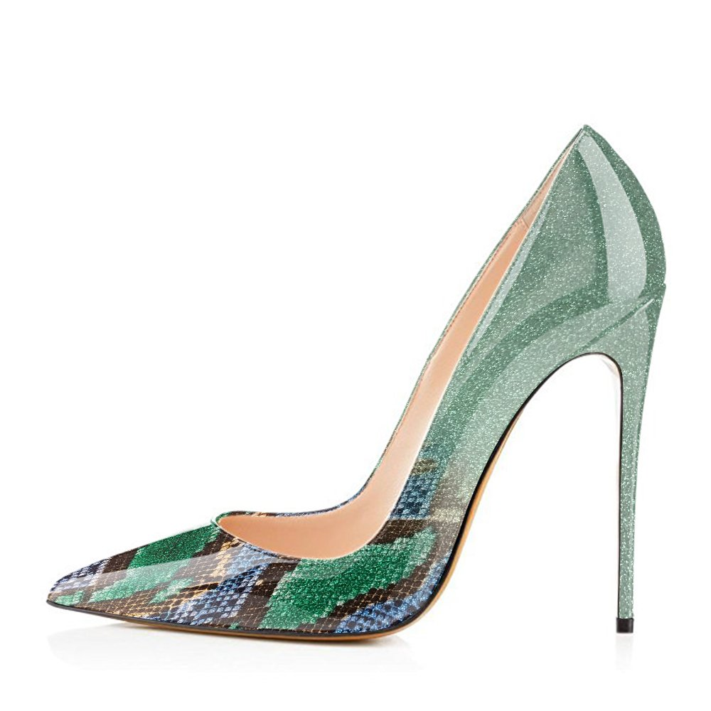 Modemoven Women's Pointy Toe High Heels Slip On Stilettos Large Size Wedding Party Evening Pumps Shoes B0728BT53W 11.5 B(M) US|Green Snake Skin