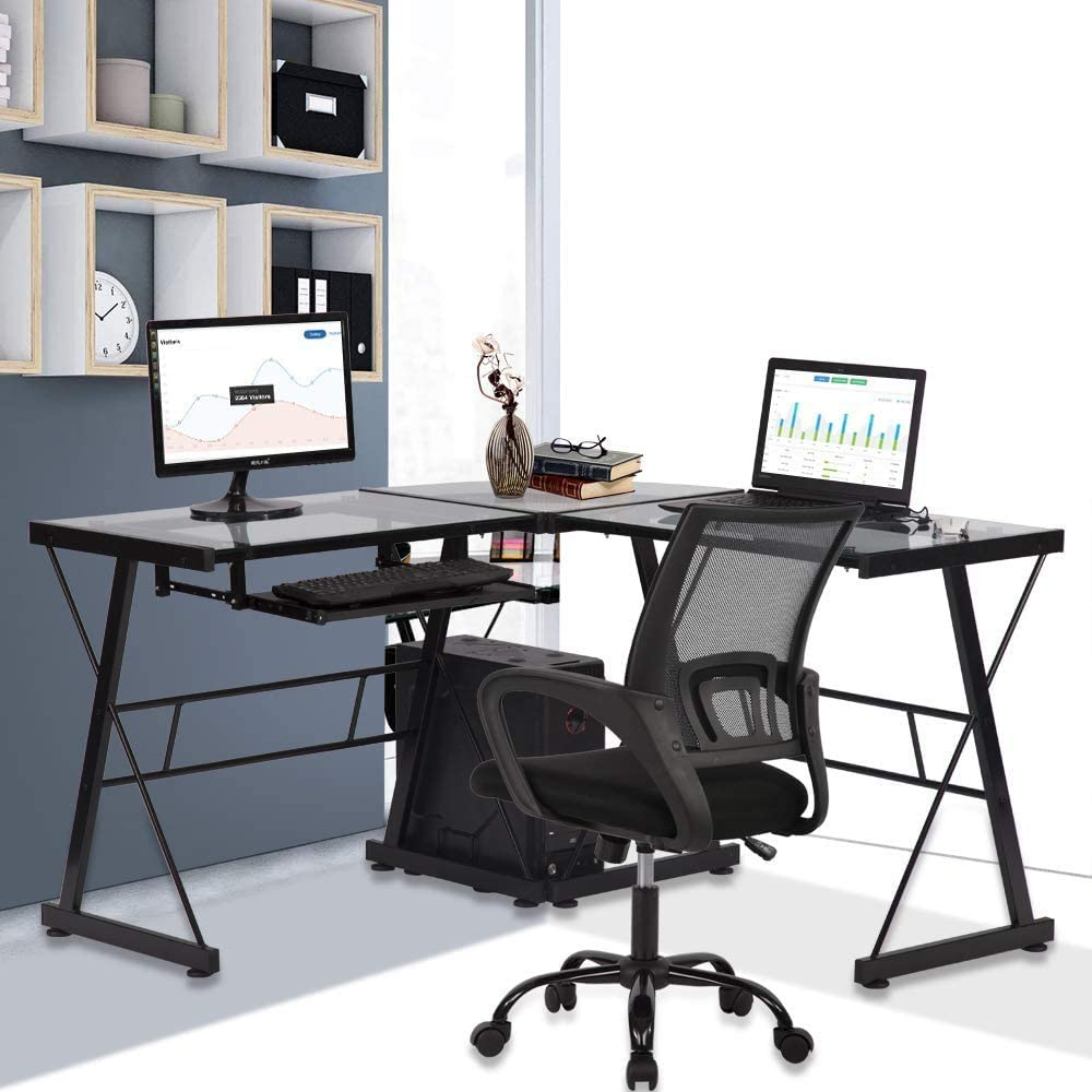 Amazon Com Glass Computer L Shaped Desk With Keyboard Tray And Cpu Stand Home Office Corner Gaming Desk Pc Laptop Desktop 3 Piece Workstation Table By Xxfbag Clear Kitchen Dining