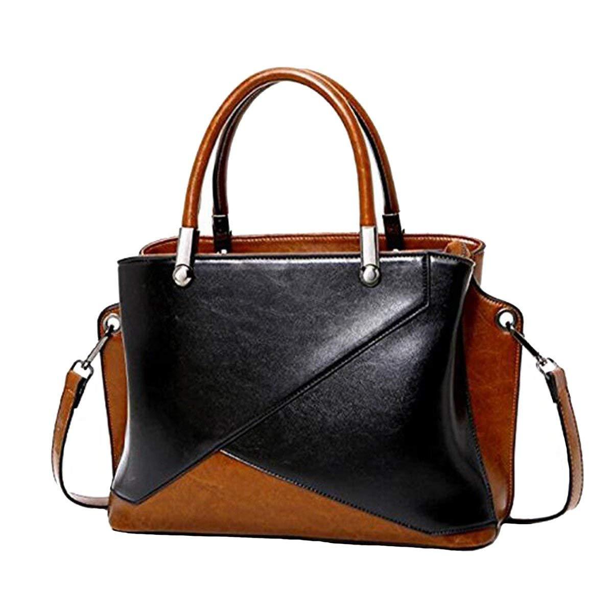 Ladies Handbag Womens Vintage Elegant Genuine Leather Top-Handle Shoulder Bag Tote with Removable Strap (color   Black)