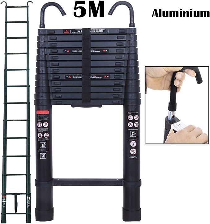 Escalera telescópica de aluminio, telescopio de 4 m, certificado EN131, escalones telescópicos extensibles con barra antideslizante, capacidad máxima de 330 lb A fram 8,2 pies + 8,2 pies: Amazon.es: Bricolaje y herramientas