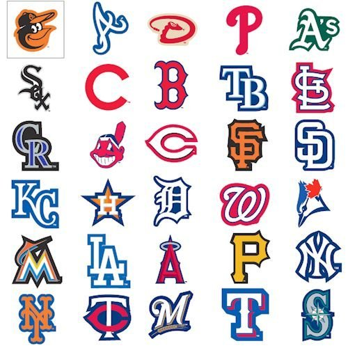 "MLB Notable League Baseball Team Logo Stickers Set of 30 Teams 4"" X 3"" Size"