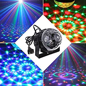 [2-pack]Mini Disco Ball Lights,YaFex Sound Activated Disco Light,Magic Mini Led Stage Lights,3W 7 Colors LED Strobe Light and Glitter Ball for Home Party KTV Xmas Bar Club Christmas Pub with Remote
