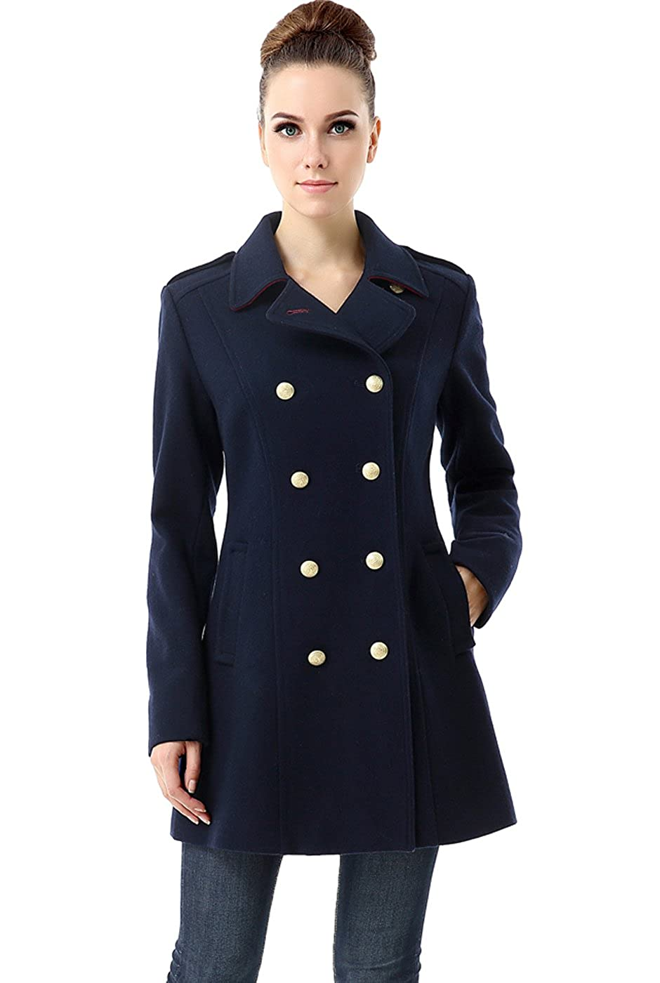 BGSD Womens Victoria Wool Blend Fitted Military Melton Coat