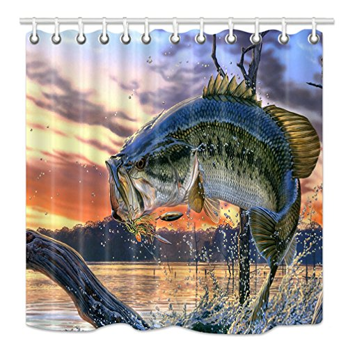 HNMQ Fishing Shower Curtain, Bass Fish with Hook out of Ocean at Sunrise, Mildew Resistant Fabric Bathroom Decorations, Bath Curtains Hooks Included, 69X70 Inches