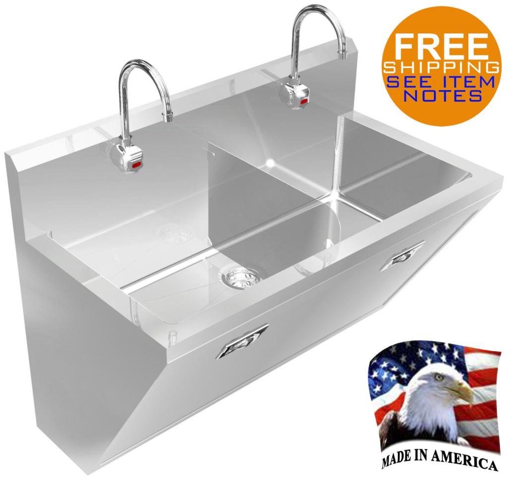 SURGEON'S HAND SINK 2 STATION 48'' HD STAINLESS STEEL #304 HANDS FREE MADE IN USA by BSM