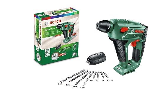 Bosch Martillo perforador a batería Uneo Maxx, sin batería, adaptador de vástago redondo, 2 brocas para hormigón SDS-Quick, 2 brocas universales, ...