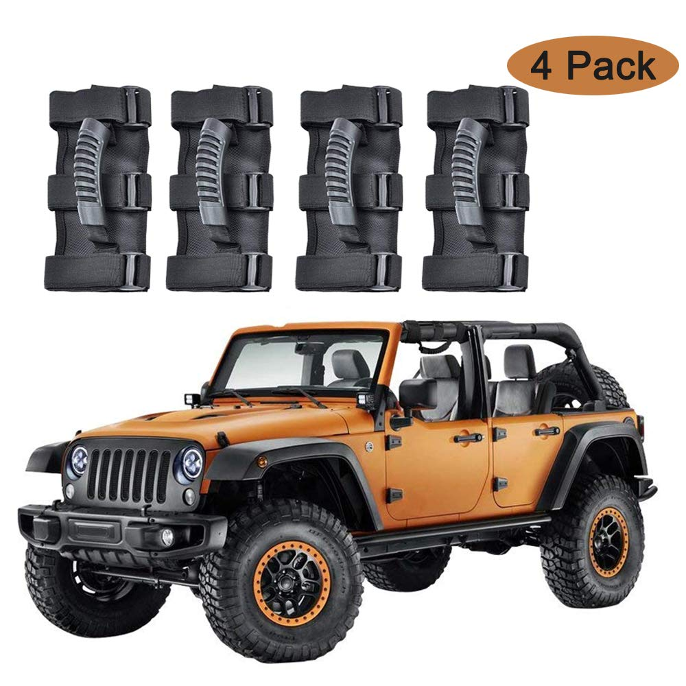 AnnBay Roll Bar Grab Handles, Heavy Duty Wrangler Jeep Grip Handle Set, Easy-to-Fit Triple Banded Security 1955-2018 Models, Safe Adventure Experience Car Accessory (Pack of 4)