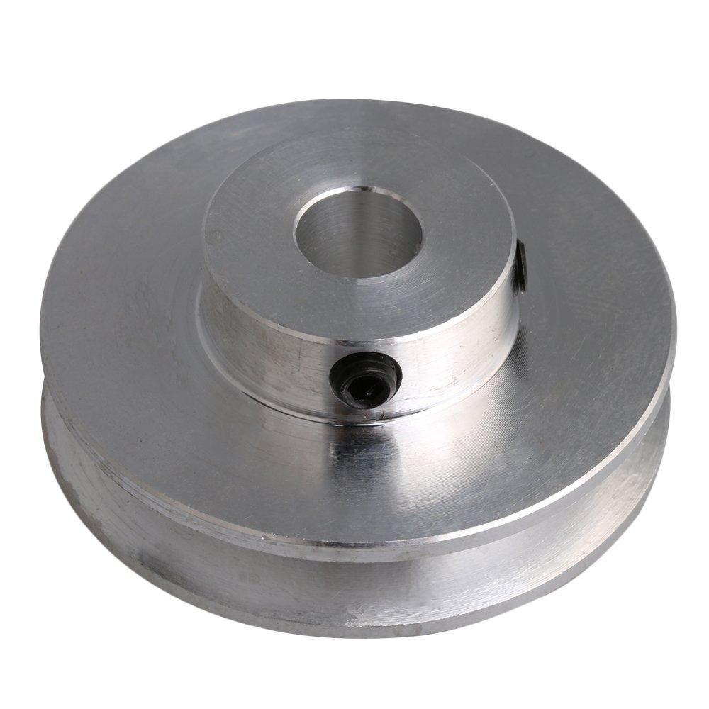 Cnbtr Argent en alliage d'aluminium fixe trou Unique Groove Forme en V Poulie pour moteur Tige 0,3–0.5cm PU rond Ceinture