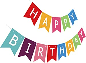 Silvima Ready to Hang Happy Birthday Banner Bunting | Pre-Strung Multiple Color Bday Sign, Colorful Party Decoration