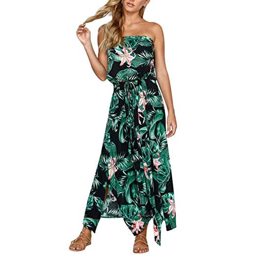 d373c7f65c Women s Dresses Summer Dress Leaf Print Maxi Dresses for Ladies Beach Party  Long Maxi Dresses Off
