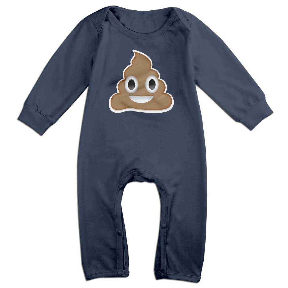 KIDDOS Baby Infant Romper Cute Poop Smiley Face Long Sleeve Playsuit Outfits,Navy