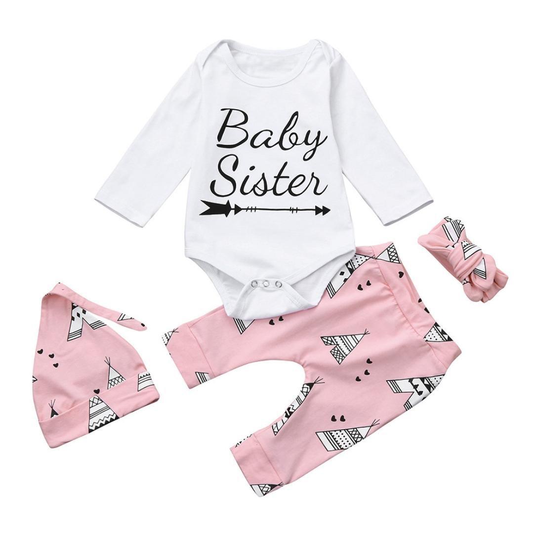 Koly Bebé Niñas 4pc Lindo Manga Larga Algodón Carta Camiseta Romper+moda Impresión Pantalones+sombreros+Trajes de diadema Navidad bebé ropa de conjunto Clothes Set