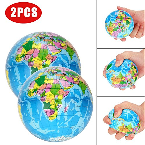 Flurries 2PCS Creative Stress Relief Therapeutic Toys Soft Puffer Educational Planet Earth Squeeze Balls Reliever Hand Palm Grip and Strength for ADD/ADHD Kids Adults (Blue)