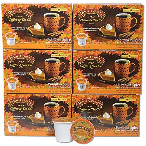 Pumpkin Door - Door County Coffee, Single-Serve Cups for Keurig Brewers, Pumpkin Spice, 72 Count