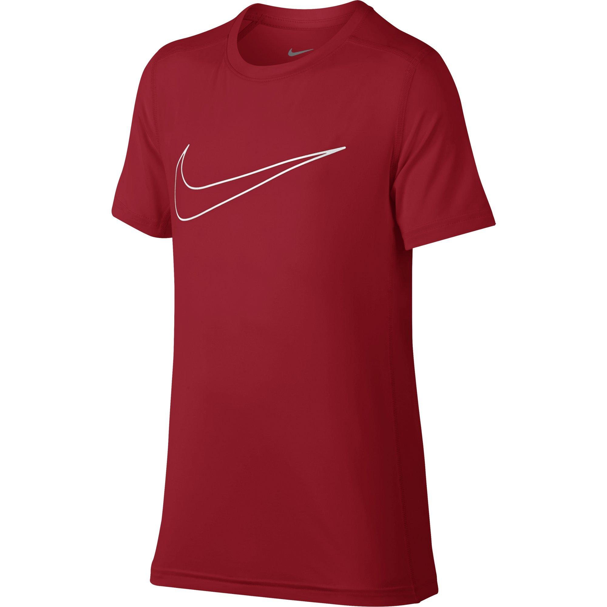 NIKE Boys' Short-Sleeve Training Shirt, University Red, Small
