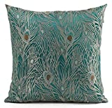 Decorative Pillow Cover - Fablegent 20 x 20-Inch Sapphire Blue Peacock Design Elegant Decorative Throw Pillow Cover