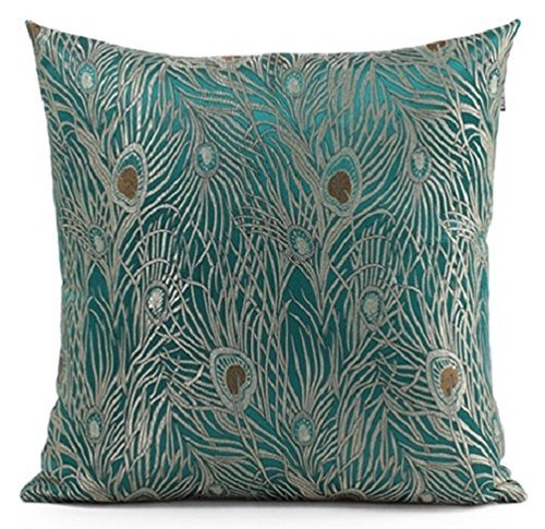 Fablegent 20 x 20-Inch Sapphire Blue Peacock Design Elegant Decorative Throw Pillow (Peacock Embroidery Designs)