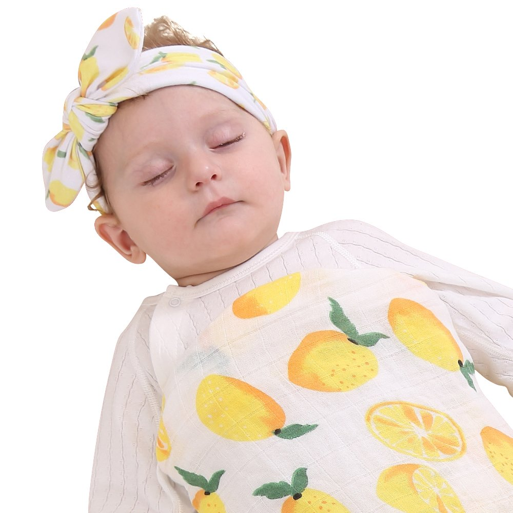 Quest Sweet Baby muslin Swaddle Blanket,Receiving Blankets,Soft Newborn Baby Blanket&Headband Set B072XDKZMM