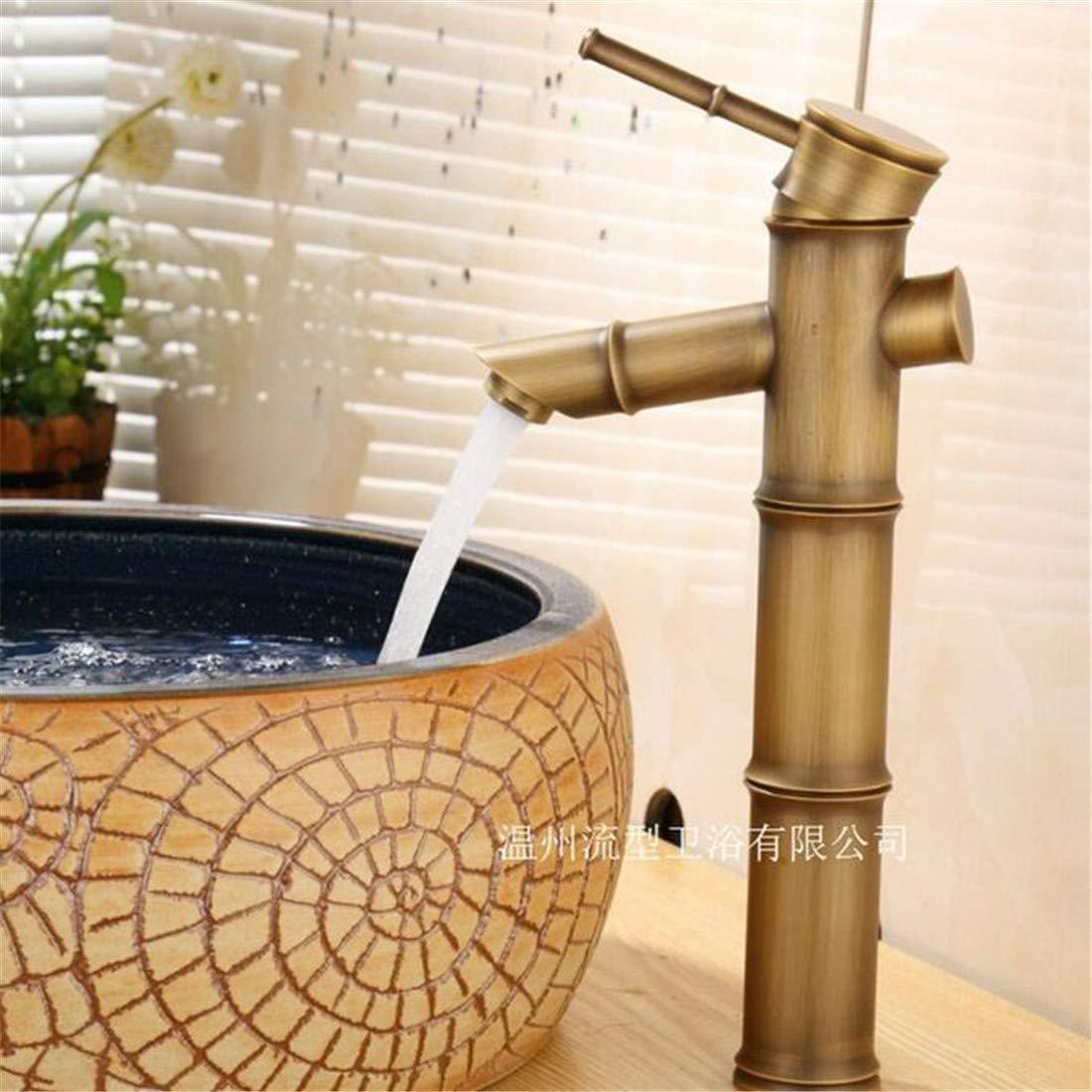 Mischbatterie Brause Drehbar Bad Spültischvintage Messing Bambus Form Einzigen Griff Ein Loch Keramikventil Heißes Und Kaltes Wasser Bad Becken Wasserhahn