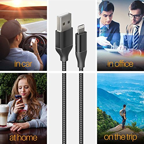 iPhone Charger,Lansen Lightning Cable 5Pack Nylon Braided iPhone Cable for iPhone X/8/8 Plus/7/7 Plus/6s/6s Plus/6/6Plus/5s iPad/-(Black Silver) by Lansen (Image #4)