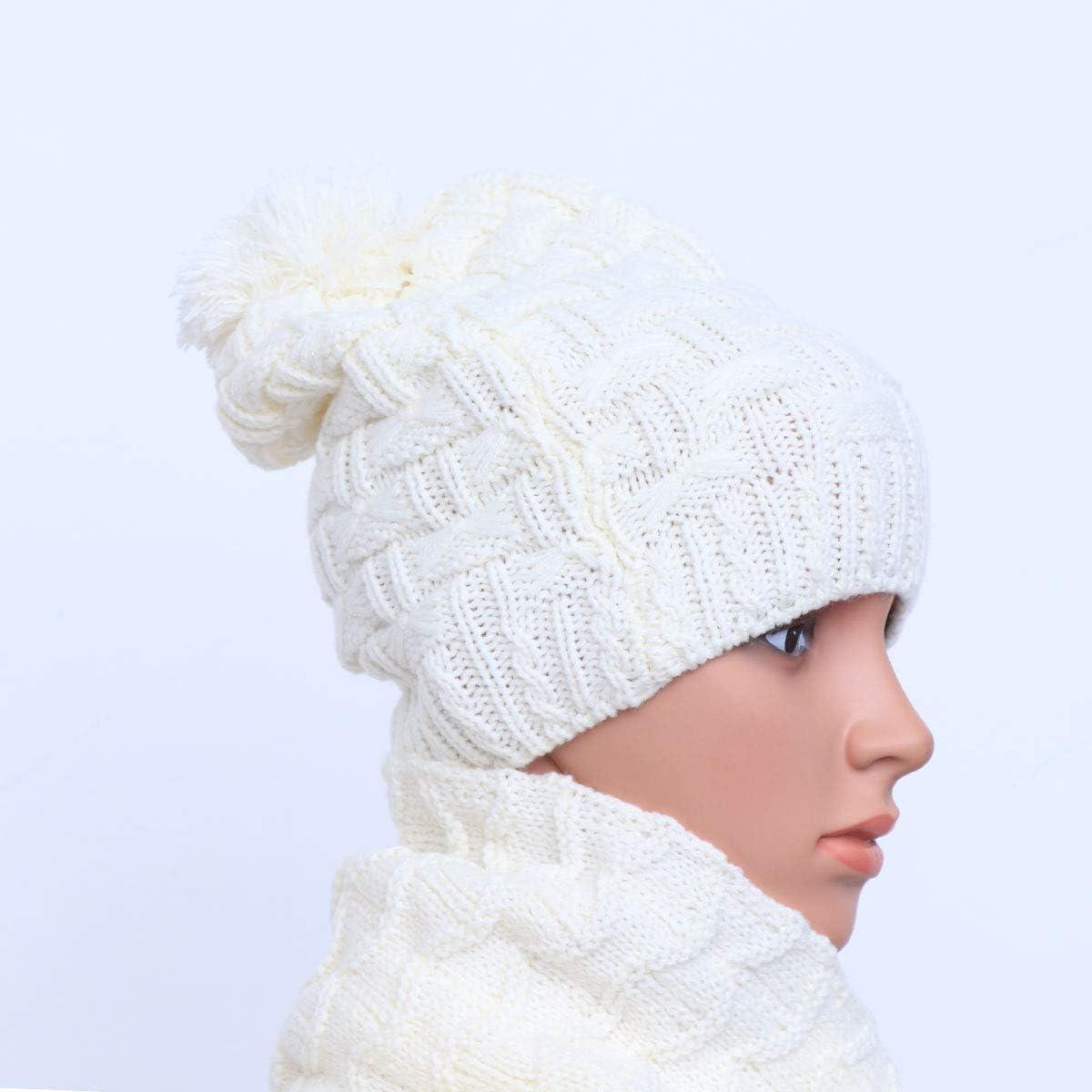 da donna set di cappello e sciarpa invernali spessi nero cuciti a maglia Leorx