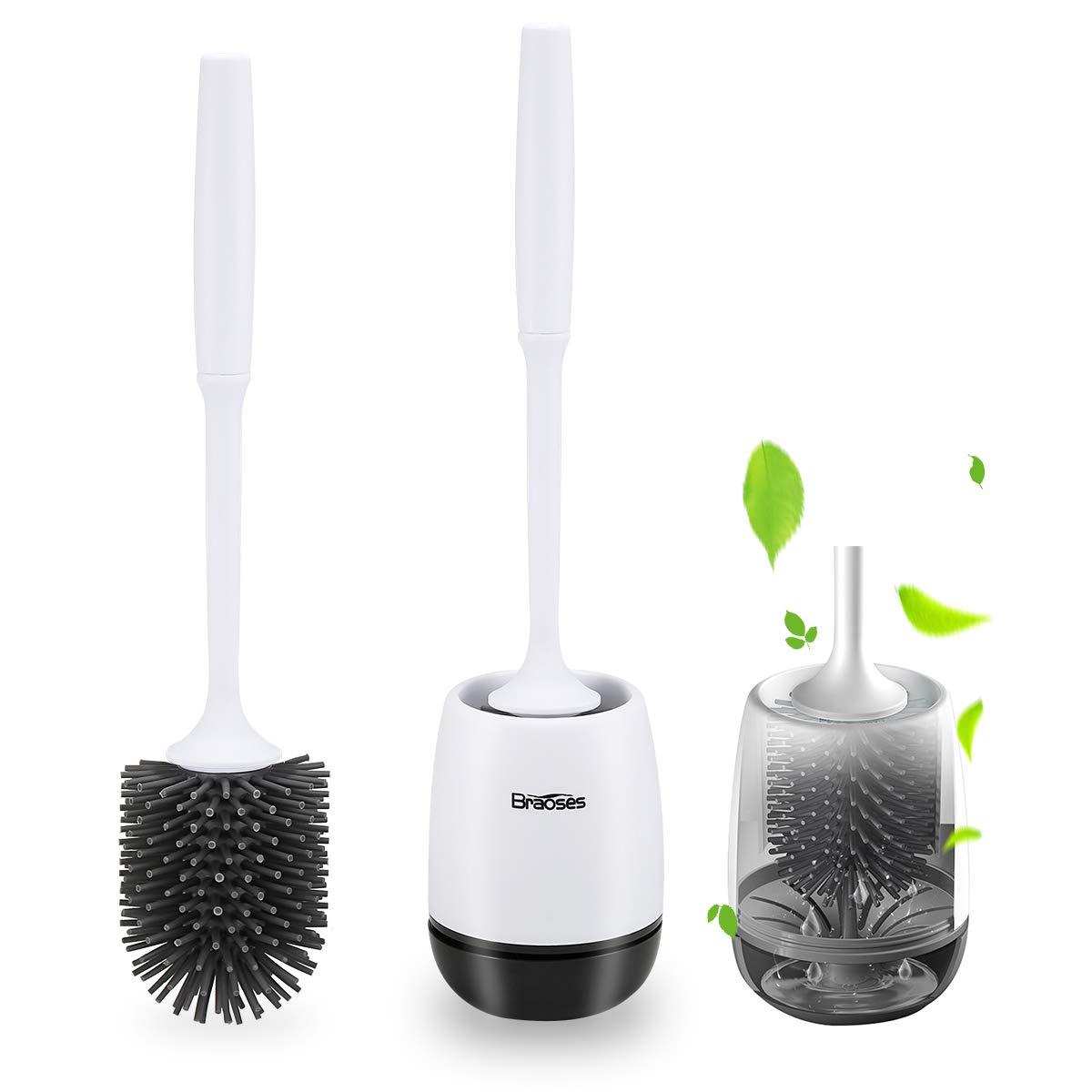 Braoses Toilet Brush and Holder Set, Bathroom Toilet Bowl Cleaner Brush Set, Household Cleaning Brushes Kit, with Antislip Grip Handle, Hollow Suspension Drainage Holder, Floor Standing/Wall Mounted by Braoses