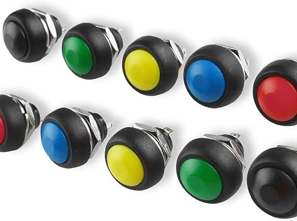 Larcele Mini Impermeable Botón Pulsador, 5 Colores,12mm,10piezas ...
