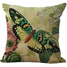 Butterfly Flower Printed Stuffed Cushion LivebyCare Linen Cotton Cover Filling Stuffing Throw Pillow Insert Filler Pattern Zipper For Decor Decorative Dinning Room Kitchen