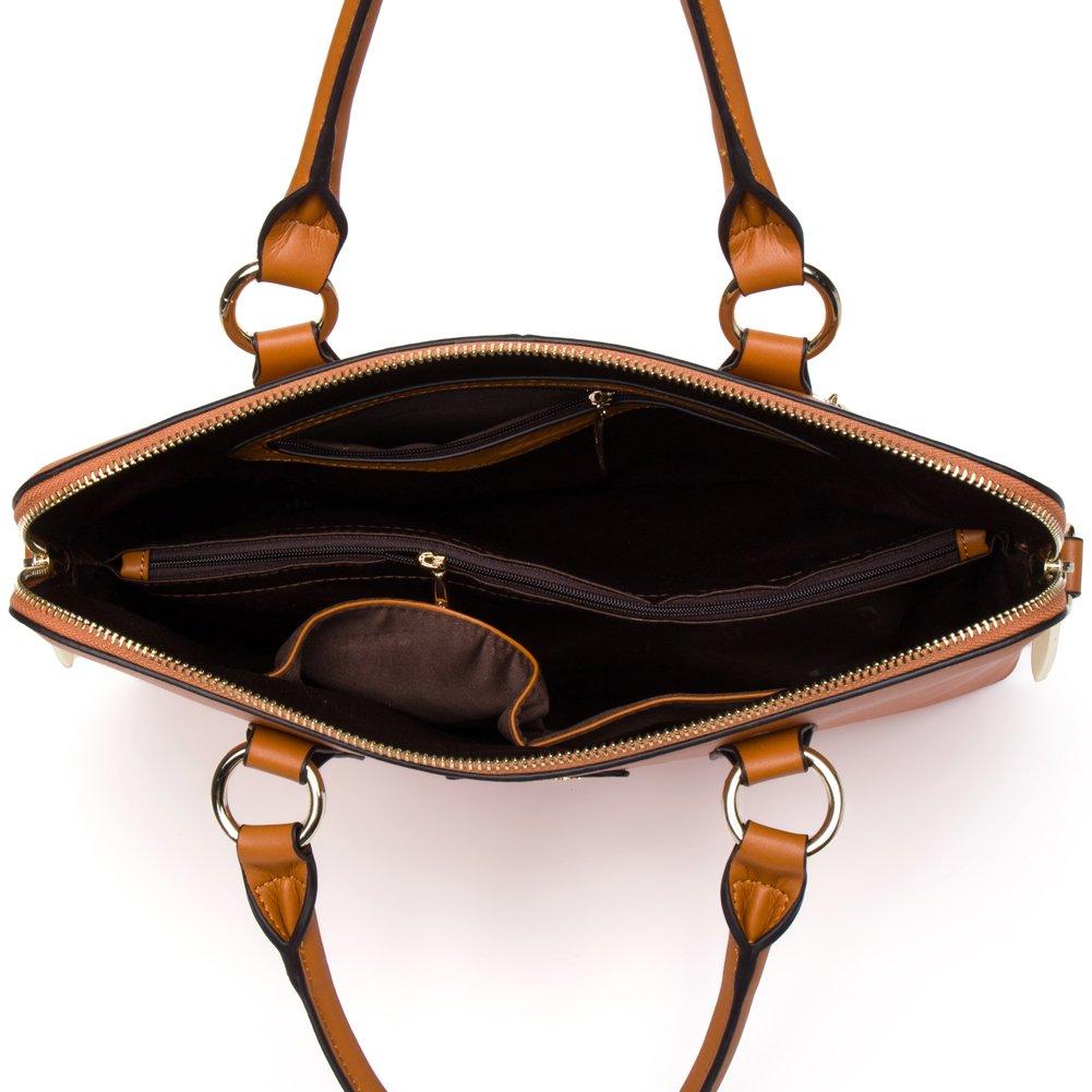 e106b911f7051 CLUCI Damen Leder Schultertasche Shopper Handtasche Umhängetasche Tote Bag  Braun  Amazon.de  Koffer