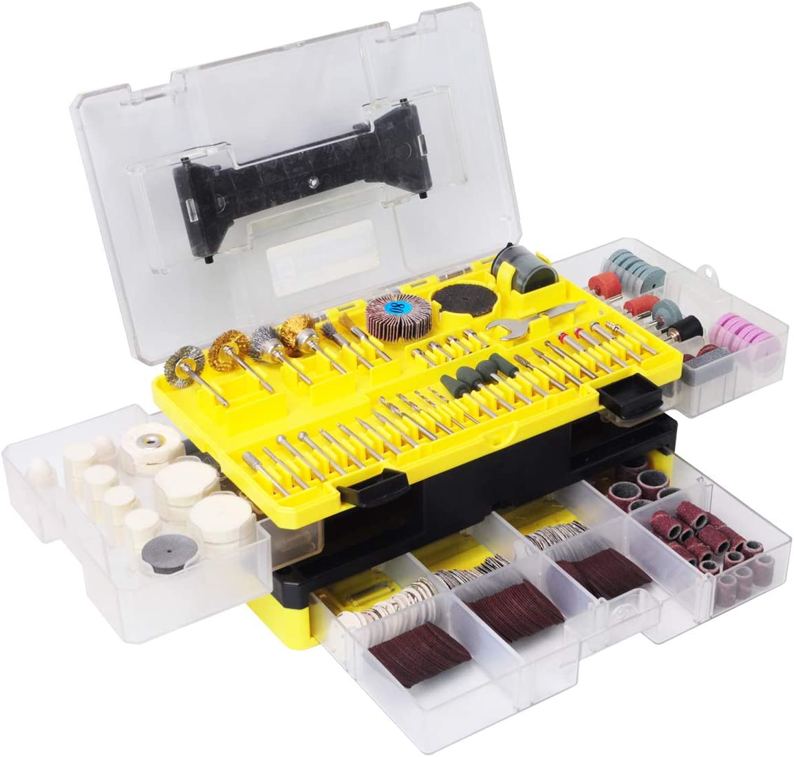 Rotary Tool Accessories Kit, Longmate 349 Piece 1/8 Inch Shanks Electric Tool Accessories for Easy Drilling, Cutting, Grinding, Sanding, Sharpening, Carving and Polishing